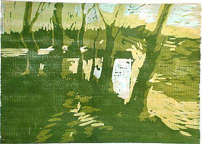 Michael Daum, Landschaft mit Bäumen, 1997, Farbholzschnitt  auf Papier, 70,0 cm x 50,0 cm
