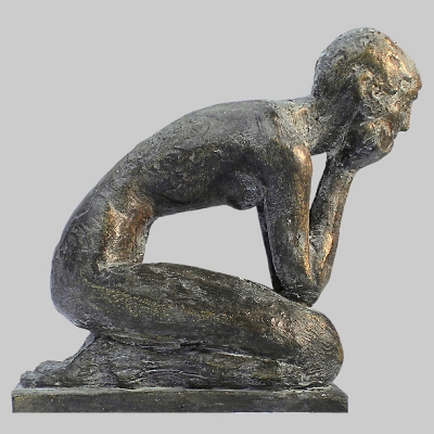 Angelika Kienberger, In thought (small), 2116, bronze, 3.9 by 1.8 by 3.9 in.