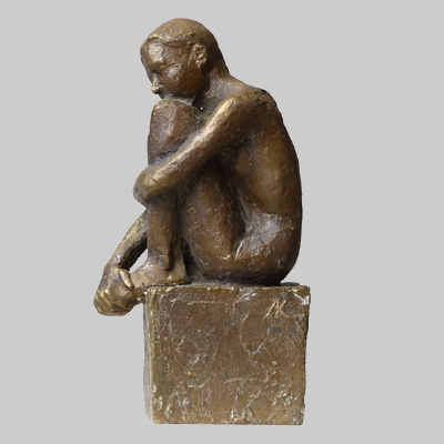 Angelika Kienberger, Small cowering nude, 2116, bronze, 5.5 by 3 by 1.8 in.