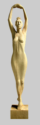 Angelika Kienberger, Dancer, 2005, lime, 38.2 by 5.9 by 7.1 in.