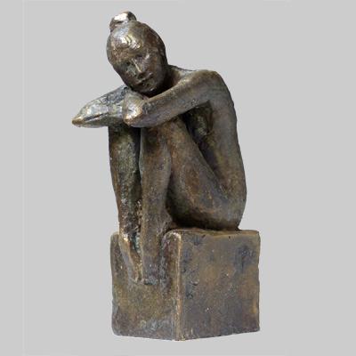 Angelika Kienberger, Daydream (Würfelhocker), 2017, bronze, 5.9 by 3 by 2 in.