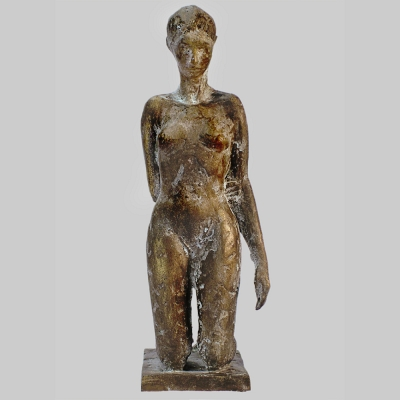 Angelika Kienberger, Small kneeling nude, 2116, bronze, 6.3 by 1.8 by 3.3 in.