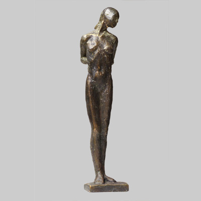 Angelika Kienberger, Small upright nude, 2117, bronze, 8.7 by 1.8 by 2 in.