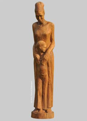 Angelika Kienberger, GEMEINSAM, groß, 2012, Walnuss, 95 x 20 x 20 cm