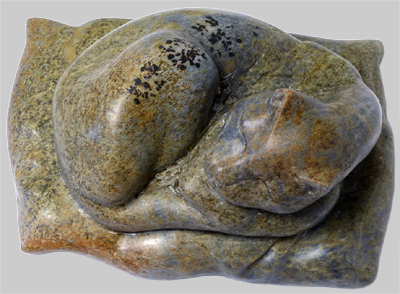 Angelika Kienberger, Sleeping cat, 2016, steatite, 7.9 by 4.3 by 5.9 in.