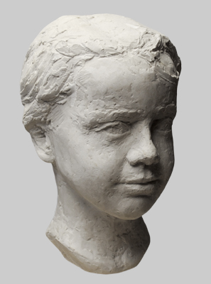 Angelika Kienberger, portrait Ira, 2014, Marmorconcrete, 9.8 by 5.9 by 7.9 in.